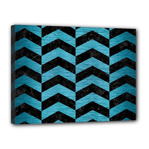 Chevron2 Black Marble & Teal Brushed Metal Canvas 16  X 12  by trendistuff