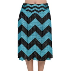 Chevron3 Black Marble & Teal Brushed Metal Velvet Flared Midi Skirt by trendistuff