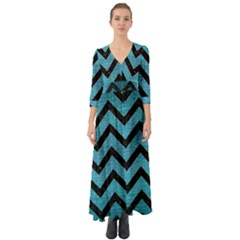 Chevron9 Black Marble & Teal Brushed Metal Button Up Boho Maxi Dress