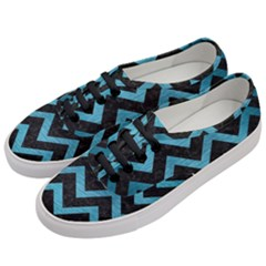 Chevron9 Black Marble & Teal Brushed Metal (r) Women s Classic Low Top Sneakers by trendistuff