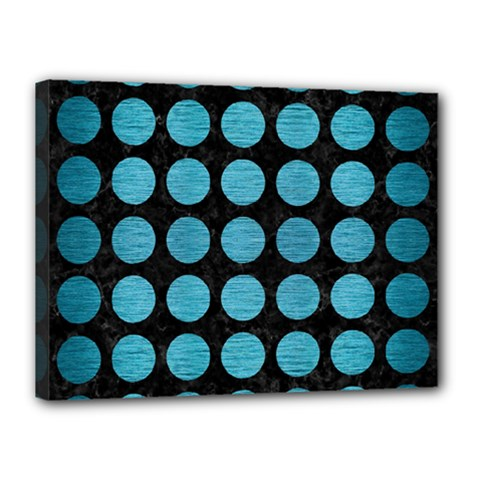 Circles1 Black Marble & Teal Brushed Metal (r) Canvas 16  X 12  by trendistuff