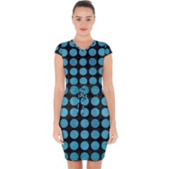 Circles1 Black Marble & Teal Brushed Metal (r) Capsleeve Drawstring Dress