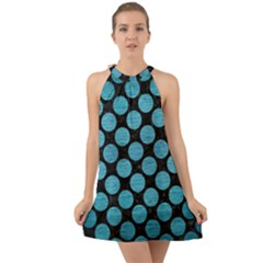 Circles2 Black Marble & Teal Brushed Metal (r) Halter Tie Back Chiffon Dress by trendistuff