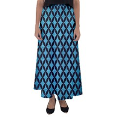 Circles3 Black Marble & Teal Brushed Metal Flared Maxi Skirt by trendistuff