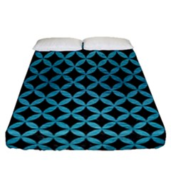 Circles3 Black Marble & Teal Brushed Metal (r) Fitted Sheet (queen Size) by trendistuff