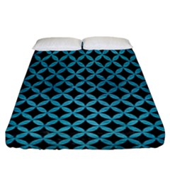 Circles3 Black Marble & Teal Brushed Metal (r) Fitted Sheet (california King Size) by trendistuff