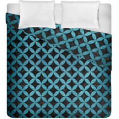 Circles3 Black Marble & Teal Brushed Metal (r) Duvet Cover Double Side (king Size)