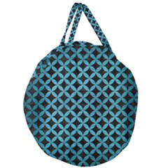Circles3 Black Marble & Teal Brushed Metal (r) Giant Round Zipper Tote