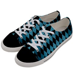 Diamond1 Black Marble & Teal Brushed Metal Women s Low Top Canvas Sneakers by trendistuff