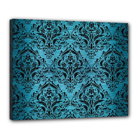 Damask1 Black Marble & Teal Brushed Metal Canvas 20  X 16  by trendistuff