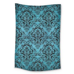 Damask1 Black Marble & Teal Brushed Metal Large Tapestry by trendistuff