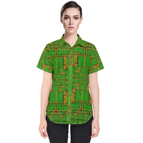 Golden Green And  Sunshine Pop Art Women s Short Sleeve Shirt by pepitasart