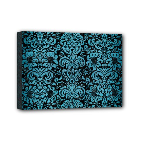 Damask2 Black Marble & Teal Brushed Metal (r) Mini Canvas 7  X 5  by trendistuff