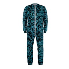 Damask2 Black Marble & Teal Brushed Metal (r) Onepiece Jumpsuit (kids)