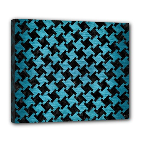 Houndstooth2 Black Marble & Teal Brushed Metal Deluxe Canvas 24  X 20   by trendistuff