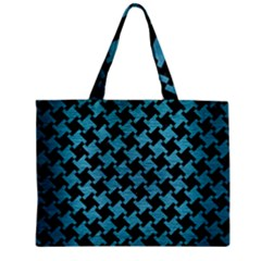 Houndstooth2 Black Marble & Teal Brushed Metal Zipper Mini Tote Bag by trendistuff