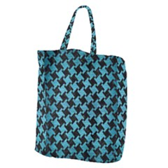 Houndstooth2 Black Marble & Teal Brushed Metal Giant Grocery Zipper Tote by trendistuff