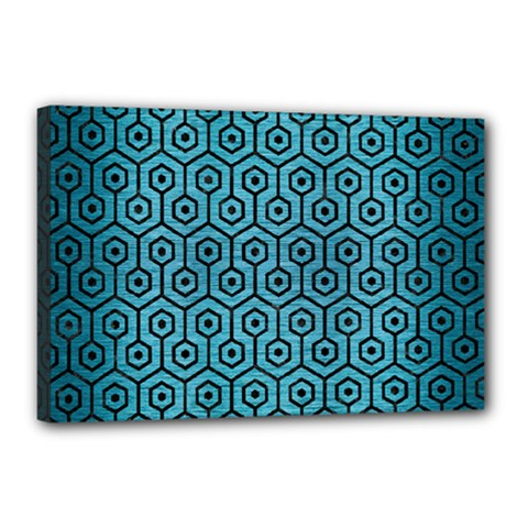 Hexagon1 Black Marble & Teal Brushed Metal Canvas 18  X 12  by trendistuff