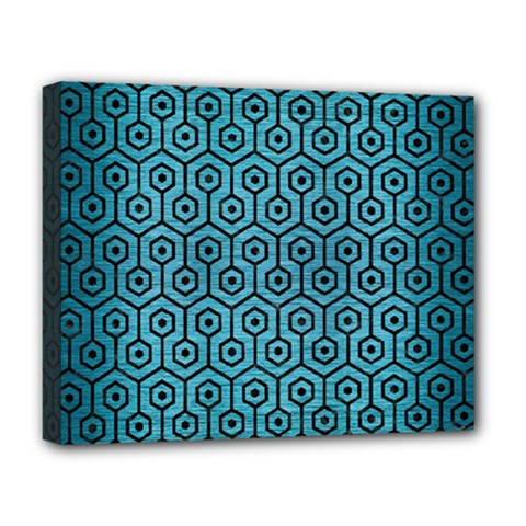 Hexagon1 Black Marble & Teal Brushed Metal Deluxe Canvas 20  X 16   by trendistuff