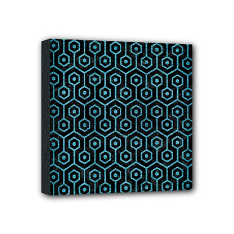 Hexagon1 Black Marble & Teal Brushed Metal (r) Mini Canvas 4  X 4  by trendistuff