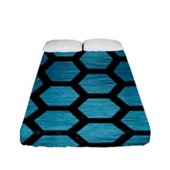 Hexagon2 Black Marble & Teal Brushed Metal Fitted Sheet (full/ Double Size) by trendistuff