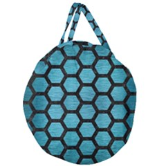 Hexagon2 Black Marble & Teal Brushed Metal Giant Round Zipper Tote by trendistuff