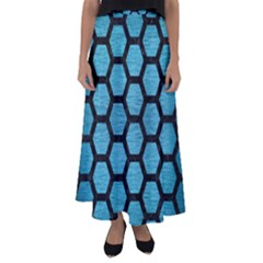 Hexagon2 Black Marble & Teal Brushed Metal Flared Maxi Skirt