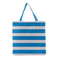 Blue And White Lines Grocery Tote Bag by berwies