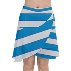 Blue And White Lines Chiffon Wrap
