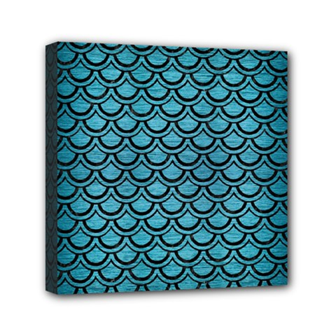 Scales2 Black Marble & Teal Brushed Metal Mini Canvas 6  X 6