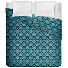 Scales2 Black Marble & Teal Brushed Metal Duvet Cover Double Side (california King Size) by trendistuff