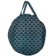 Scales2 Black Marble & Teal Brushed Metal (r) Giant Round Zipper Tote by trendistuff