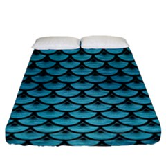 Scales3 Black Marble & Teal Brushed Metal Fitted Sheet (king Size) by trendistuff