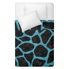 Skin1 Black Marble & Teal Brushed Metal Duvet Cover Double Side (single Size) by trendistuff