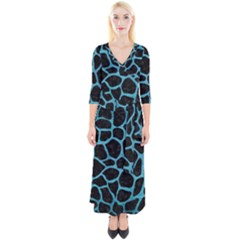 Skin1 Black Marble & Teal Brushed Metal Quarter Sleeve Wrap Maxi Dress