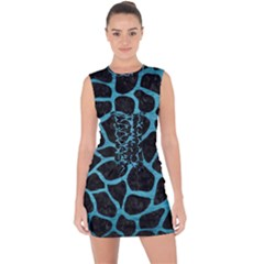 Skin1 Black Marble & Teal Brushed Metal Lace Up Front Bodycon Dress
