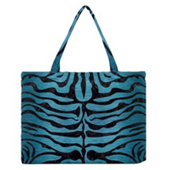 Skin2 Black Marble & Teal Brushed Metal Zipper Medium Tote Bag