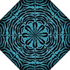 Skin2 Black Marble & Teal Brushed Metal (r) Golf Umbrellas by trendistuff