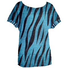 Skin3 Black Marble & Teal Brushed Metal Women s Oversized Tee