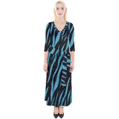 Skin3 Black Marble & Teal Brushed Metal (r) Quarter Sleeve Wrap Maxi Dress by trendistuff