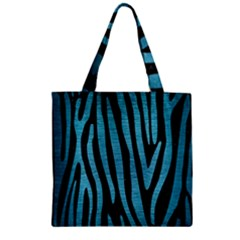 Skin4 Black Marble & Teal Brushed Metal Zipper Grocery Tote Bag by trendistuff