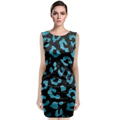 Skin5 Black Marble & Teal Brushed Metal Sleeveless Velvet Midi Dress by trendistuff