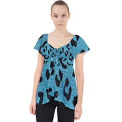 Skin5 Black Marble & Teal Brushed Metal (r) Lace Front Dolly Top by trendistuff
