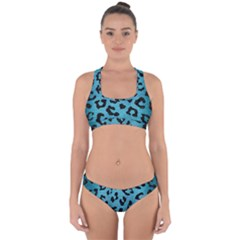 Skin5 Black Marble & Teal Brushed Metal (r) Cross Back Hipster Bikini Set by trendistuff