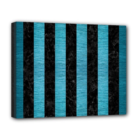 Stripes1 Black Marble & Teal Brushed Metal Deluxe Canvas 20  X 16   by trendistuff