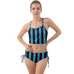 Stripes1 Black Marble & Teal Brushed Metal Mini Tank Bikini Set