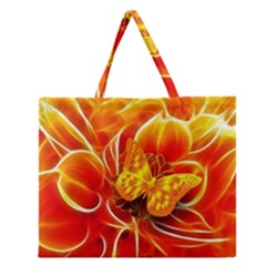 Arrangement Butterfly Aesthetics Orange Background Zipper Large Tote Bag