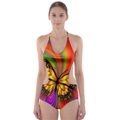 Arrangement Butterfly Aesthetics Cut Out One Piece Swimsuit