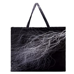 Flash Black Thunderstorm Zipper Large Tote Bag by Celenk