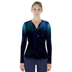 Galaxy Space Universe Astronautics V Neck Long Sleeve Top